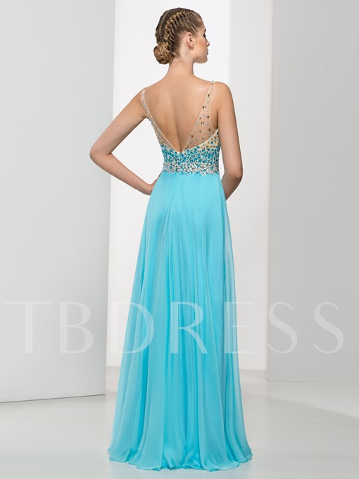 V-Neck A-Line Crystal Floor-Length Prom Dress