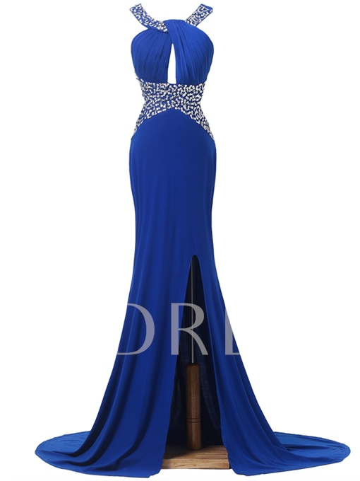 Front-Split Beaded Ruches Court Train Evening Dress
