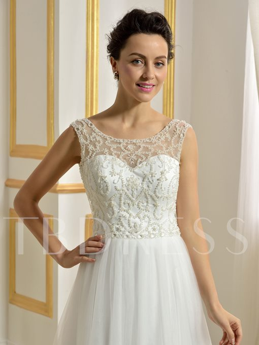 Backless Beading Pearls A-Line Tulle Beach Wedding Dress