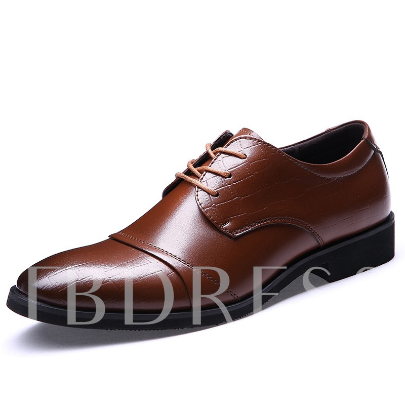 Square Heel Cross Strap Pointed Toe Men's Oxfords