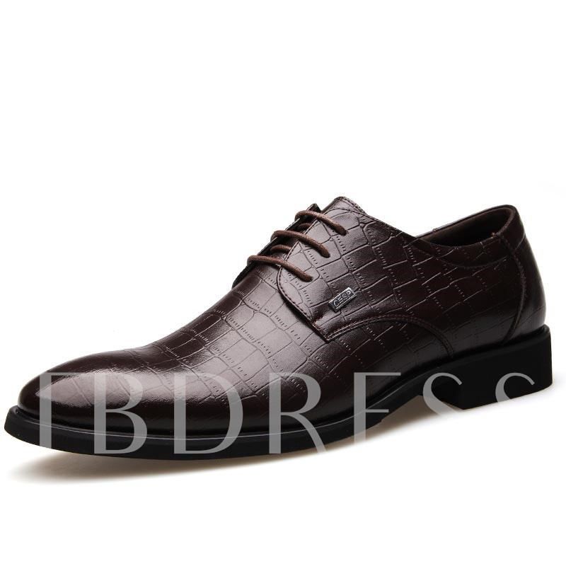 Plaid Pointed Toe Square Heel Cross Strap Men's Oxfords