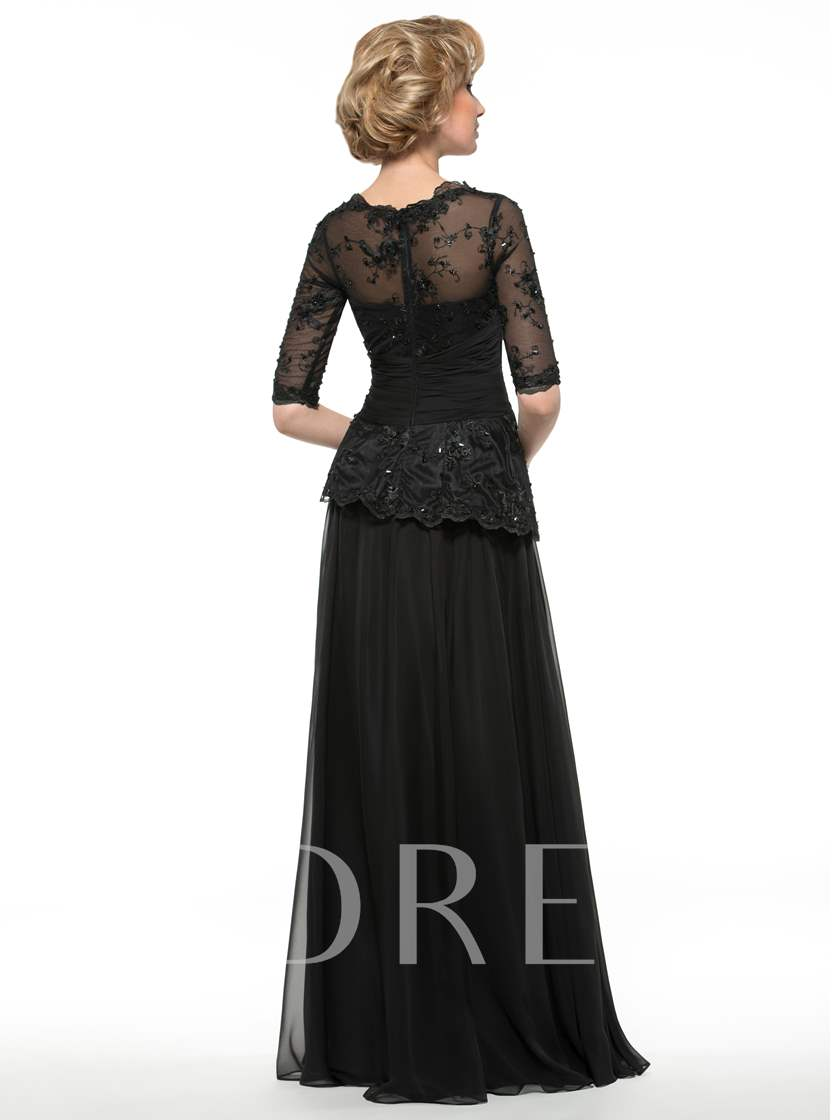 Half Sleeve Sequins Lace Mother of the Bride Dress