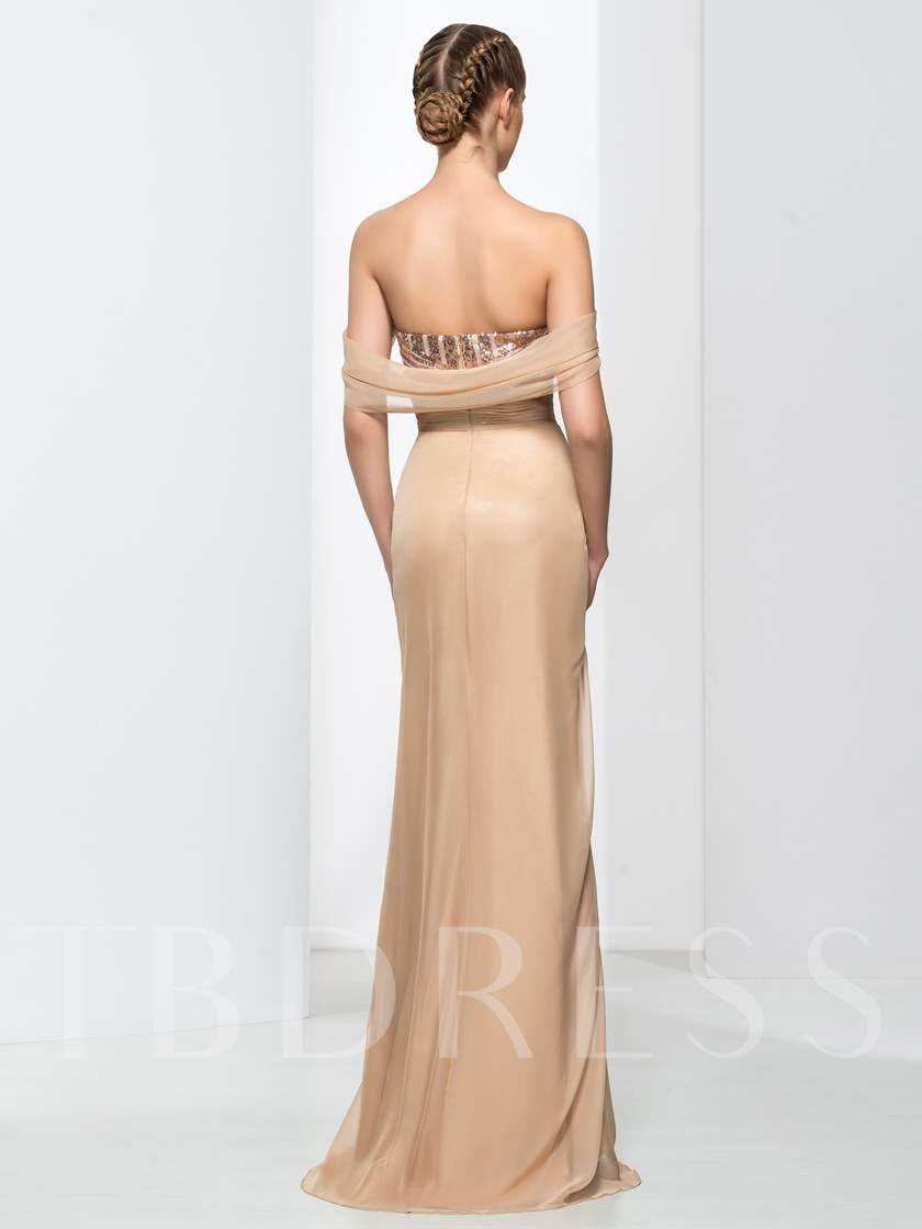 Sweetheart Sequins Ruches Sheath Evening Dress