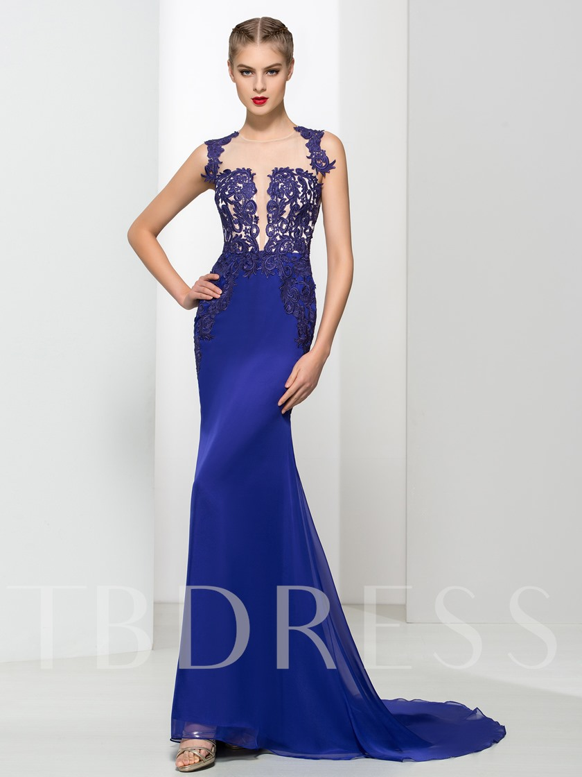 Sheer Neck Appliques Court Train Mermaid Evening Dress