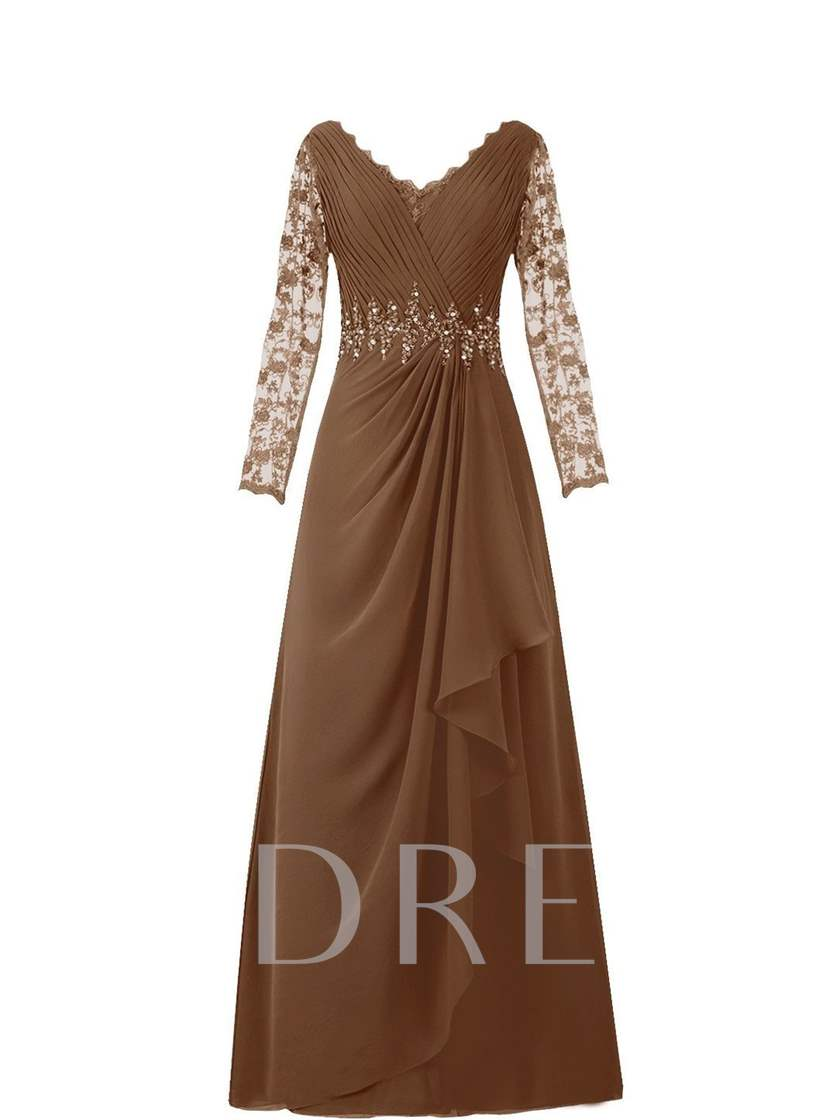 V-Neck Long Sleeve Lace Chiffon Mother of the Bride Dress