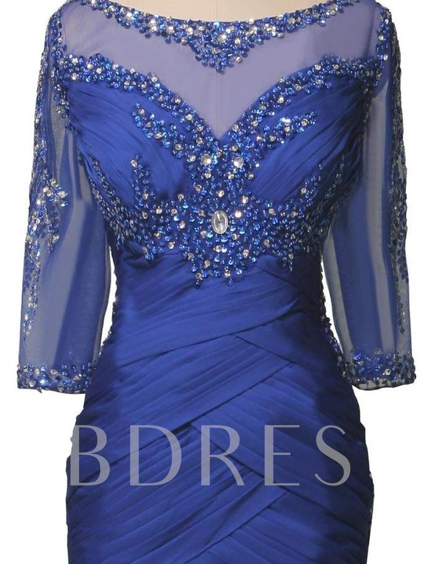 Beading Mermaid Plus Size Mother of the Bride Dress with Sleeve