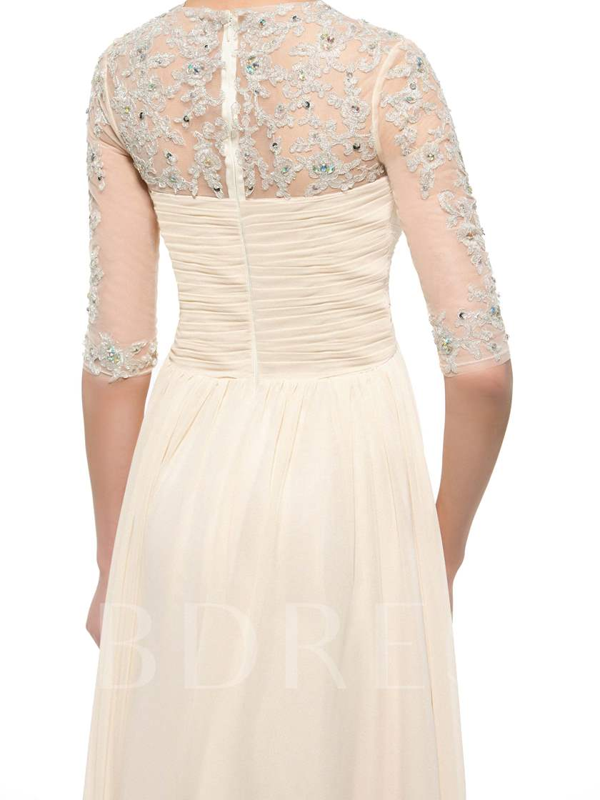 Appliques Beading Mother of the Bride Dress with Half Sleeve