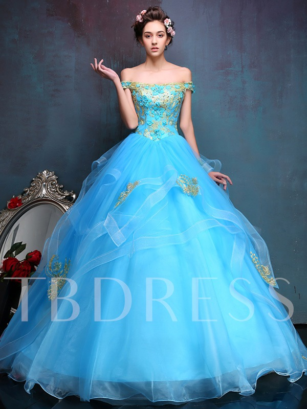 Off-the-Shoulder Appliques Beading Quinceanera Dress