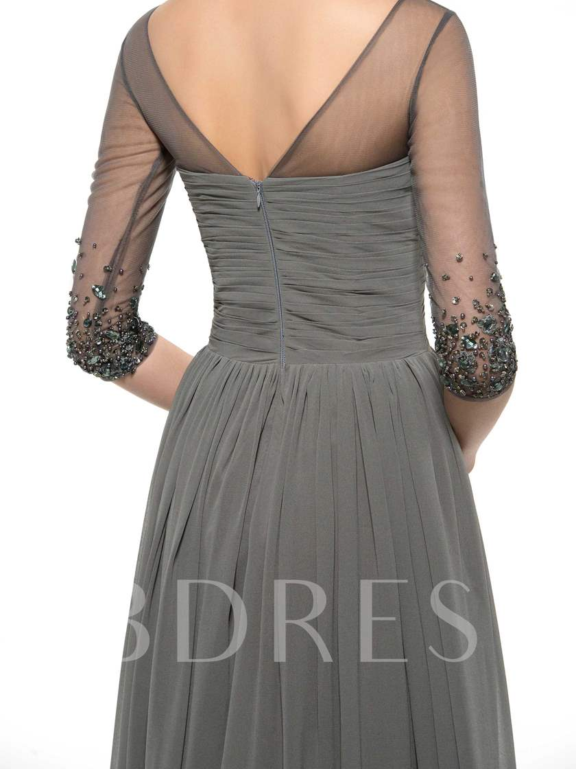 Beading Mother of the Bride Dress with Half Sleeve