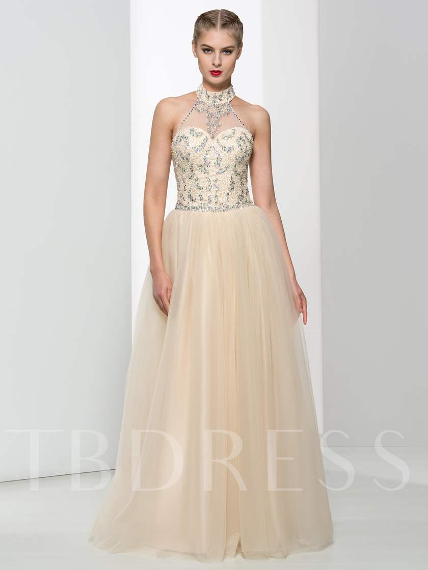 A-Line Halter Beaded Sequins Long Prom Dress