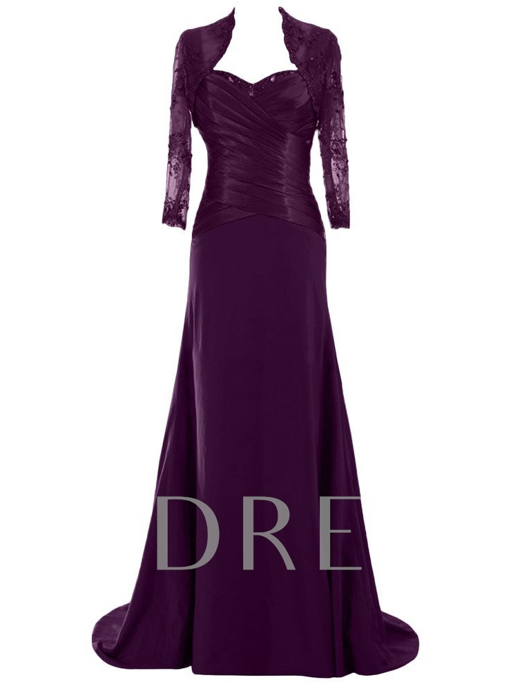 Floor-Length Matte Chiffon Lace Mother of the Bride Dress with Jacket