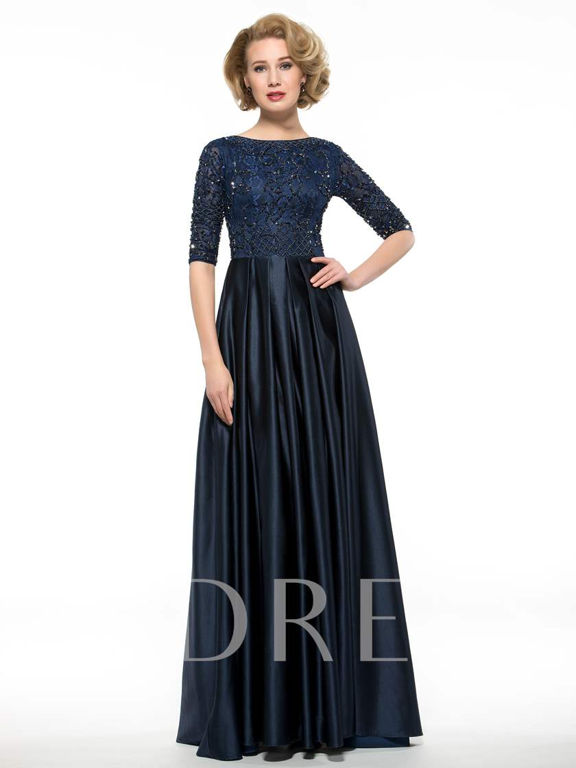 Beading Sequins Lace Half Sleeve Mother of the Bride Dress