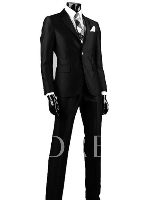 Plain Blazer Single-Breasted Formal Men's Dress Suit