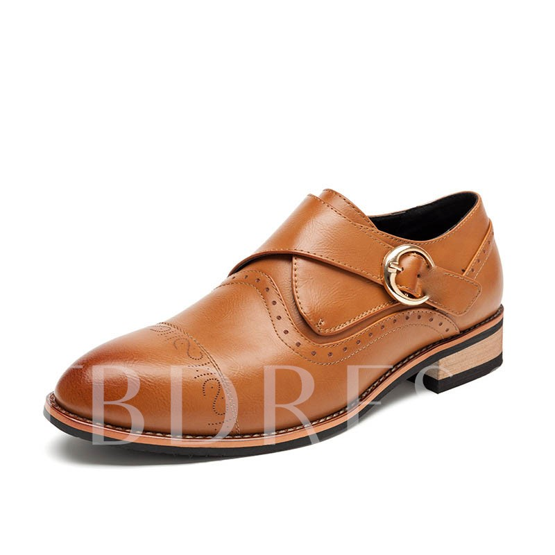 Buckle Round Toe Square Heel Low-Cut Upper Men's Oxfords