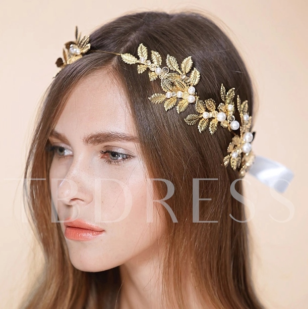 Alloy with Golden Leaves Wedding Headband with Ribbon