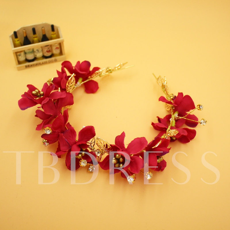 Red Flowers Alloy Wedding Bridal Headband