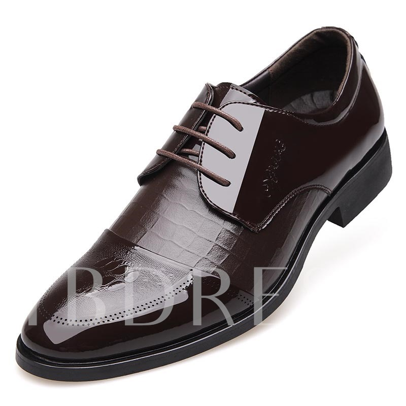 Lace-Up Front Pointed Toe Plain Square Heel Men's Oxfords