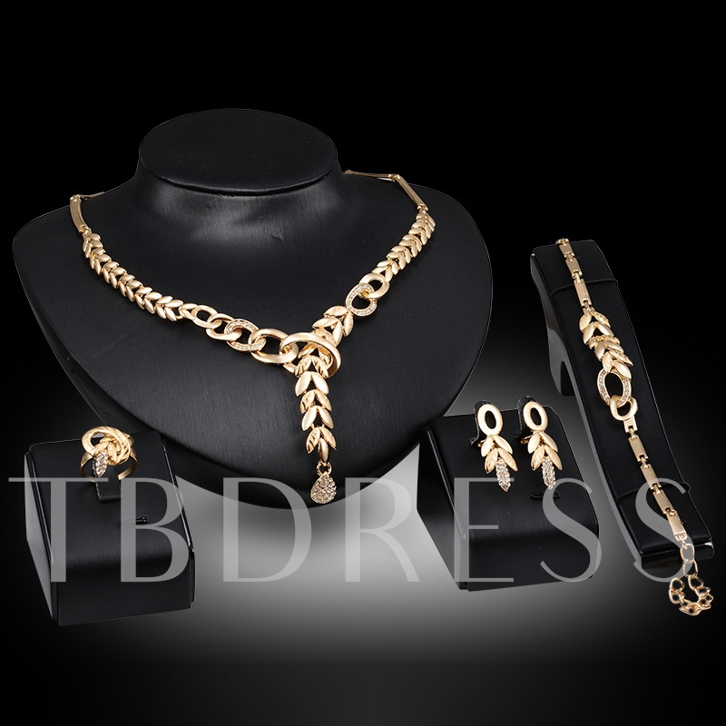 Grain Design Gold-Plated Four Pieces Jewelry Set