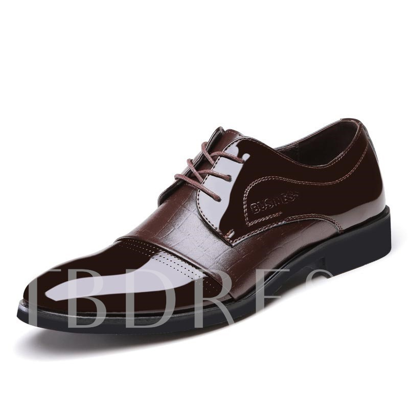 Pointed Toe Square Heel Cross Strap Sequins Men's Oxfords