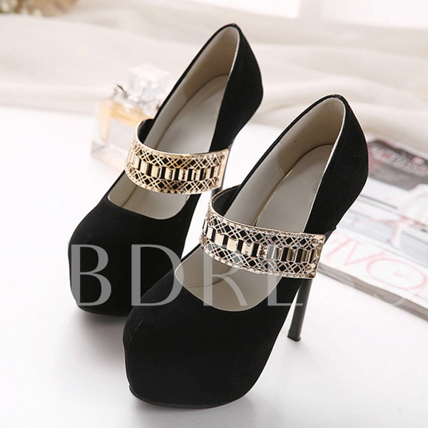 Round Toe Slip-On Platform Sequins Buckle Women's Pumps