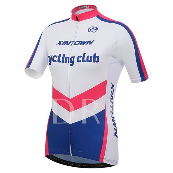 Letter Print Color Blocked Short Sleeve Cycling Jersey