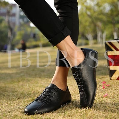 Round Toe Flat Heel Lace-Up Front Contrast Color Men's Oxfords