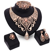 Party Gemstone Four-Piece Alloy Jewelry Set