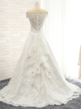 Off the Shoulder Ruffles Appliques Lace Wedding Dress