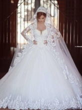Appliques Beading Long Sleeves Ball Gown Wedding Dress 2019