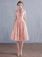 High Neck A-Line Lace Flowers Prom Dress
