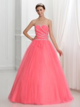 Strapless Lace-Up Sequins Beading Quinceanera Dress
