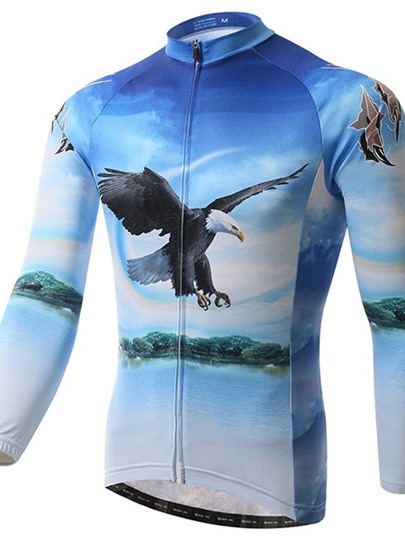 Eagle Print Fleece Lining Warm Windproof Men's Cycling Top (Plus Size Available)