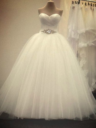 Strapless Pleated Rhinestone Ball Gown Wedding Dress