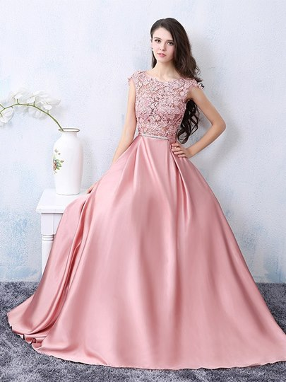 A-Line Appliques Cap Sleeve Bowknot Long Evening Dress
