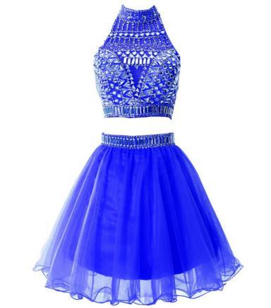 Sheath Two Pieces Jewel Neck Beading Mini Homecoming Dress