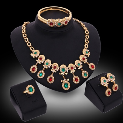 Colorful Golden Four-Piece Jewelry Set