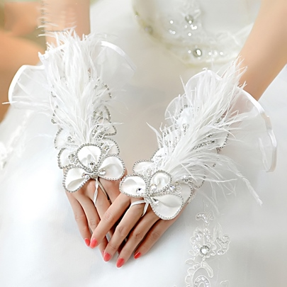 White Rhinestone Beading Feathers Wedding Gloves
