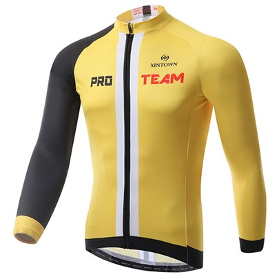 Banana Yellow Middle Striped Long Sleeve Cycling Jersey