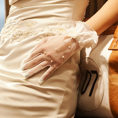 Ivory See-Through Pearls Short Wedding Gloves