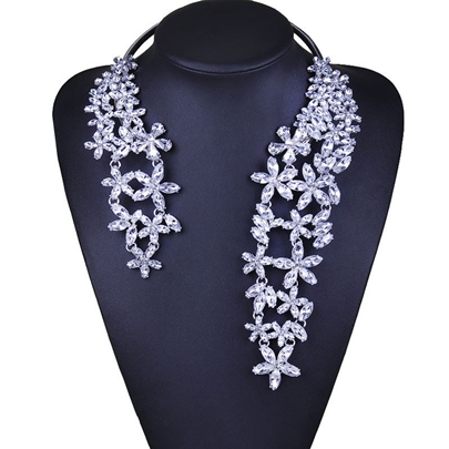 Alloy Full Rhinestone Exaggerated Necklace