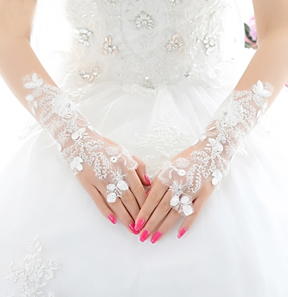 White Lace Fingerless Bridal Gloves