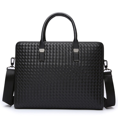 Unadorned Knitted Style Zipper Men's Tote Bag