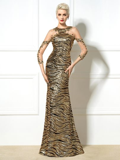3/4 Length Sleeve Sequins Beadings Sweep Train Evening Dress