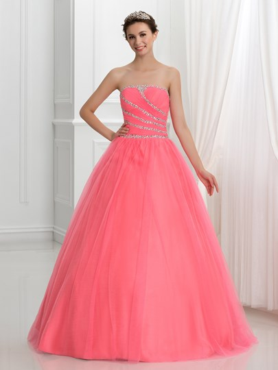 Strapless Lace-Up Ball Gown Quinceanera Dress