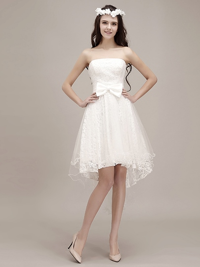 Strapless Asymmetry Hem Lace Reception Beach Wedding Dress