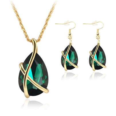 Two-Piece Nostalgic Imitation Crystal Holiday Party Jewelry Set