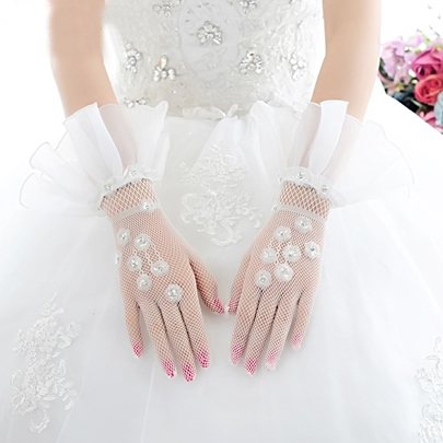 One Size Net Bridal Wedding Gloves