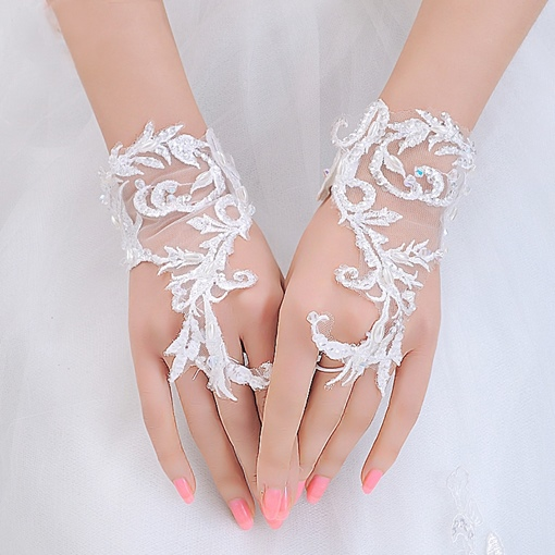 Appliques Fingerless Short Wedding Gloves