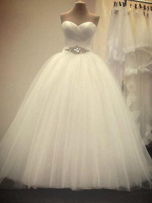 Sweetheart Pleated Beaded Ball Gown Wedding Dress