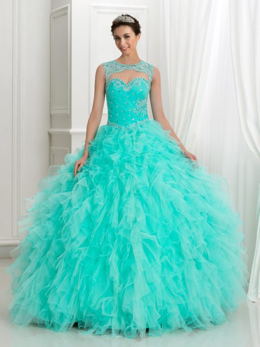 Scoop Beaded Cascarding Ruffles Quinceanera Dress